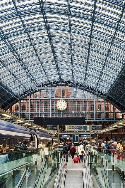 London to Moscow by Train At St Pancras Station to catch the Eurostar to Brussels