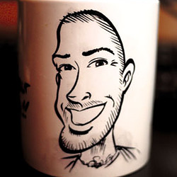 Caricature sur une tasse