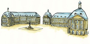 Aquarelle d'architecture : La Place de la bourse