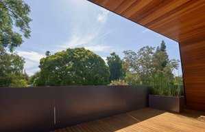 MidCentury Modern Balcony Detail: Edgewood House in Palo Alto, California in the United States