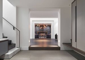Annex Coach House in Toronto: Entry hall leading to the den.