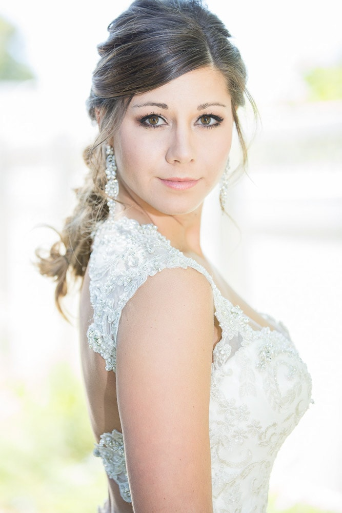 A portrait of a stylish modern bride before her Longmeadow Event Center wedding.