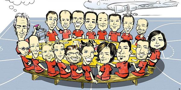 Caricature collective, départ retraite