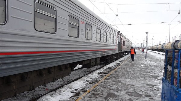 On the Moscow to Beijing Train Frequent stops across Siberia mean you can get off and stretch your legs