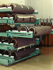 Precision Printing Custom SpaceSaver Racks for printing cylinders