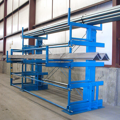 Back side-view of a One-Sided, Right-Hand Roll-Out Cantilever SpaceSaver Rack. This model has 4 roll-out levels and a fixed top-level.