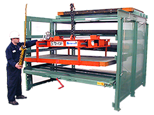 Crank-Out Sheet Rack with operator, overhead crane, and sheet-lifter