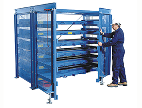 Roll-Out Sheet Rack with operator closing hinged side-frames