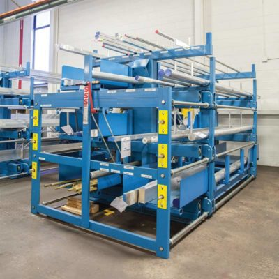 SpaceSaver Rack with Receptacle Dividers storing round steel bar