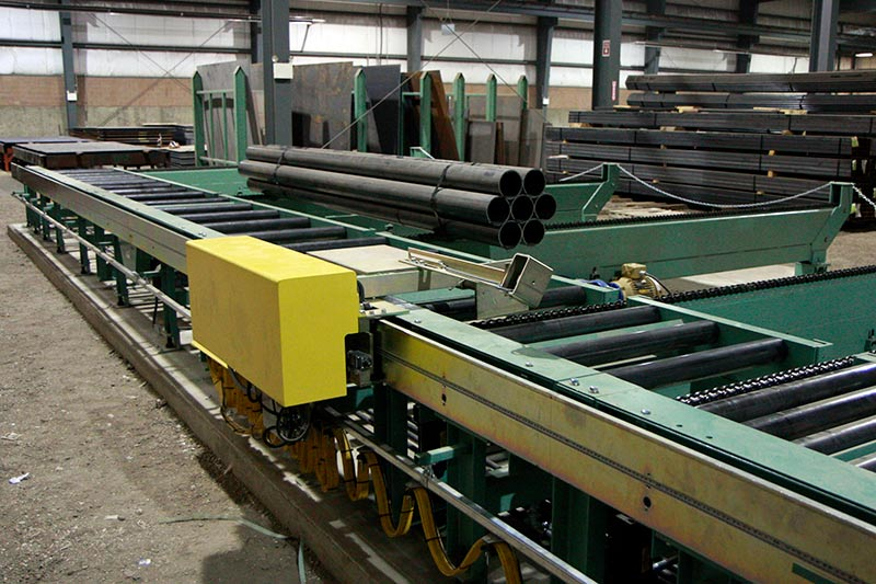 Measuring System and Work Stop for Conveyor System inside a Steel Service Center