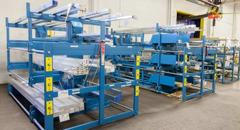 Battery of Three-Tall SpaceSaver Cantilever Racks for Long Material