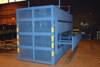 Custom Caged SpaceSaver Cantilever Rack with Extended Roll-Out Receptacle