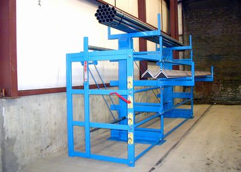 One-Sided Cantilever SpaceSaver Rack Storing Angle and Steel Tubing