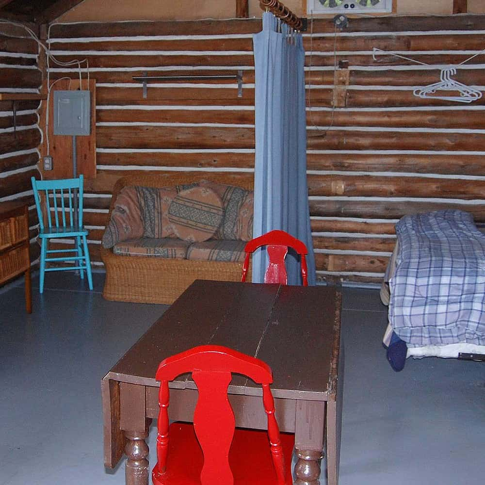 Interior view of One Bedroom Log Cabin