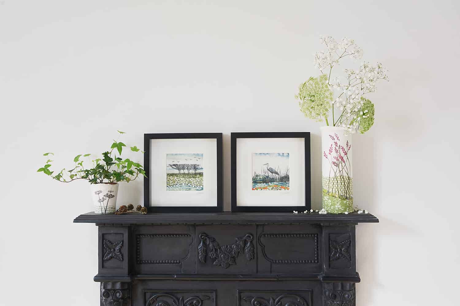 Work from textile art Lindsey Tyson photographed with natural light on top of the studio fireplace