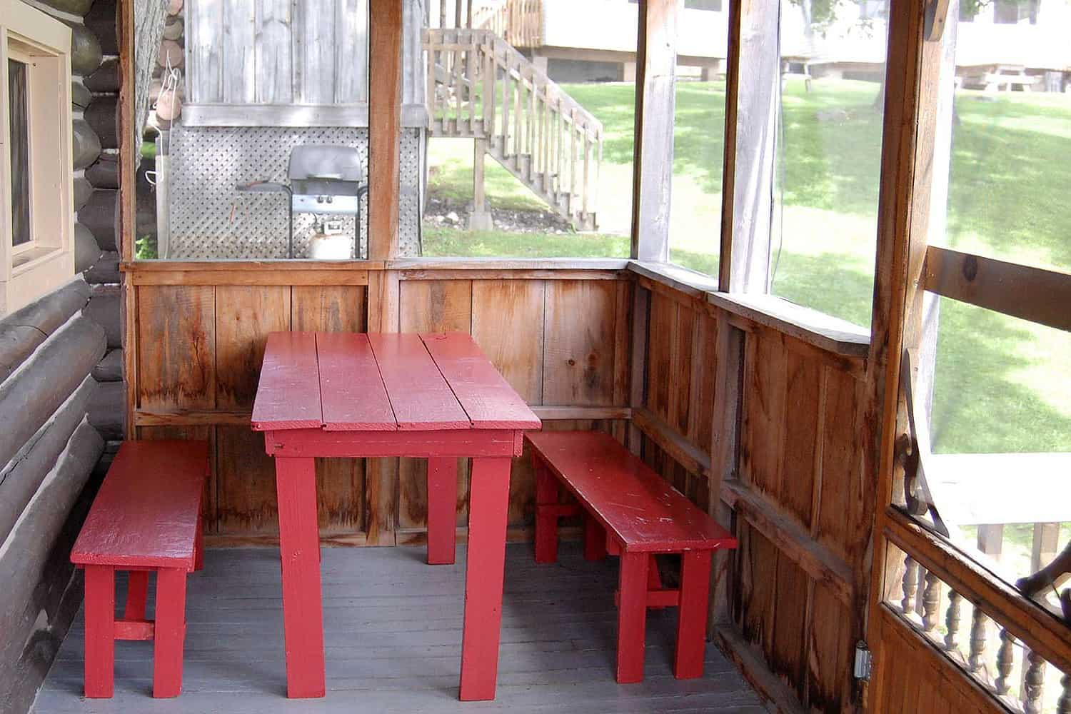 Interior of Screened Porch, Log Cabin 7