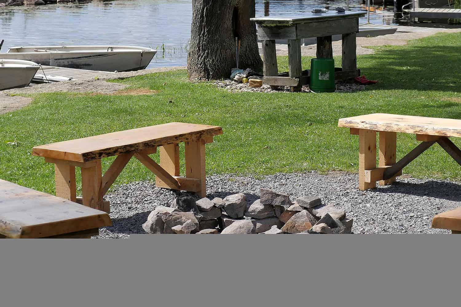 Four benches around a fire pit