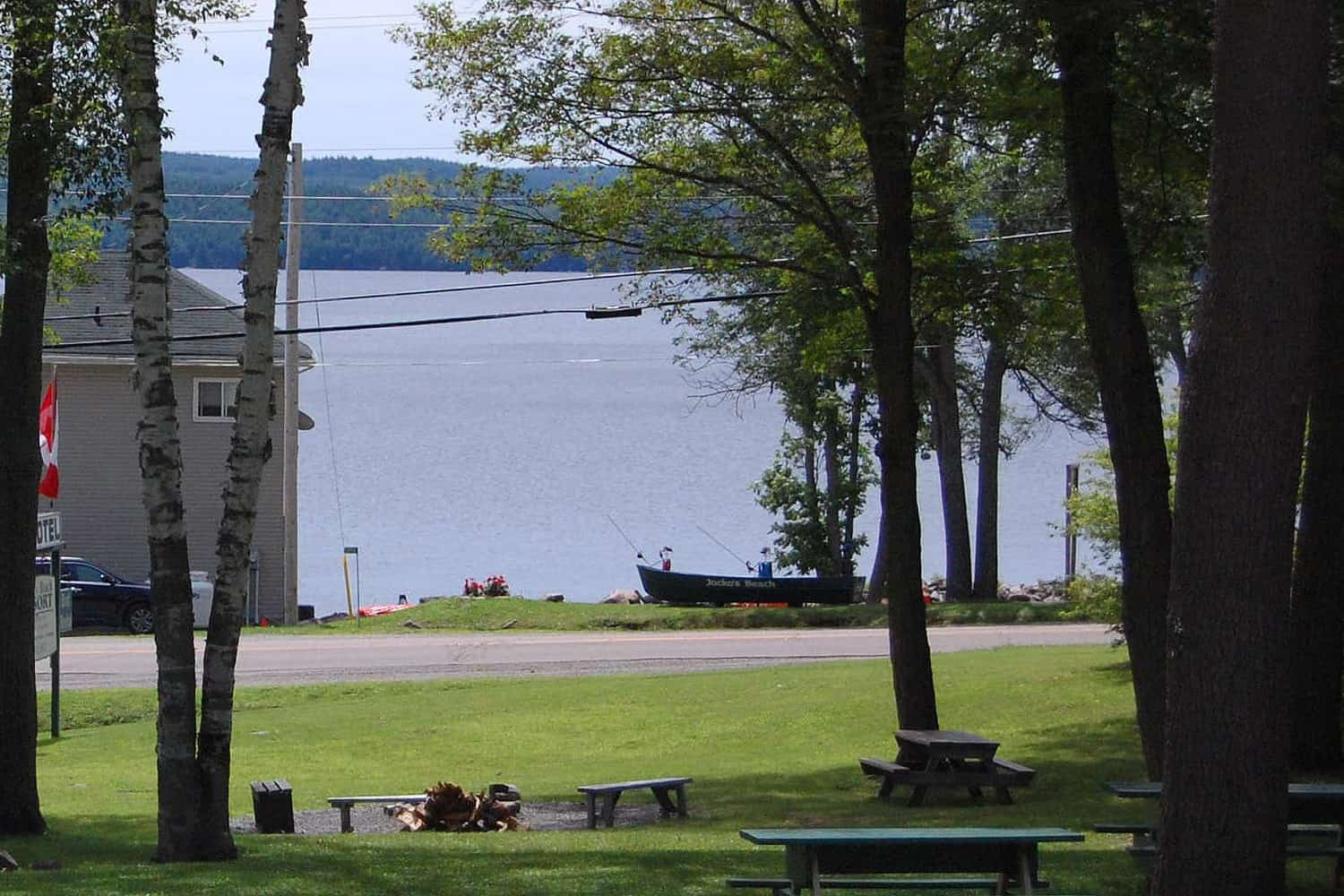View of the rear of the Lakeside House and Calabogie Lake from the motel