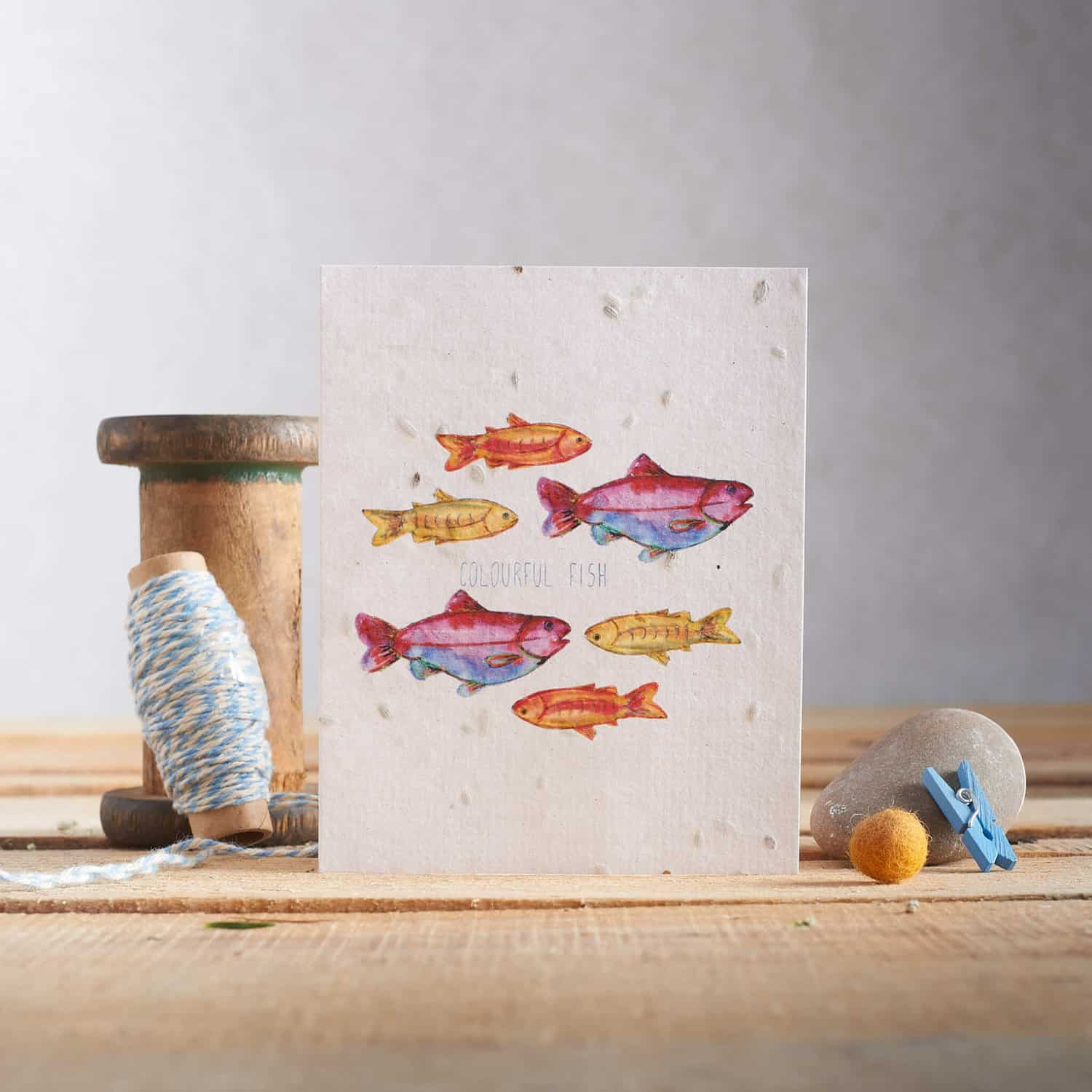 Vintage props used in this greetings card product photograph for Hannah Marchant