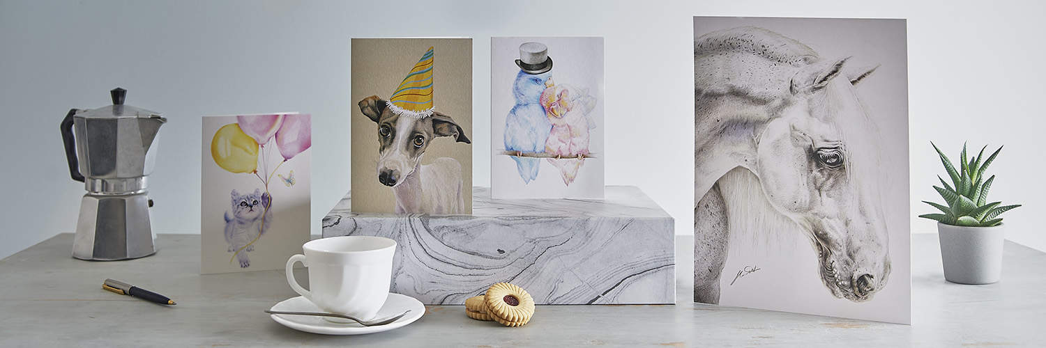 A web banner image for use by clients on their own websites, this one showing illustrated greetings card in a lifestyle setting