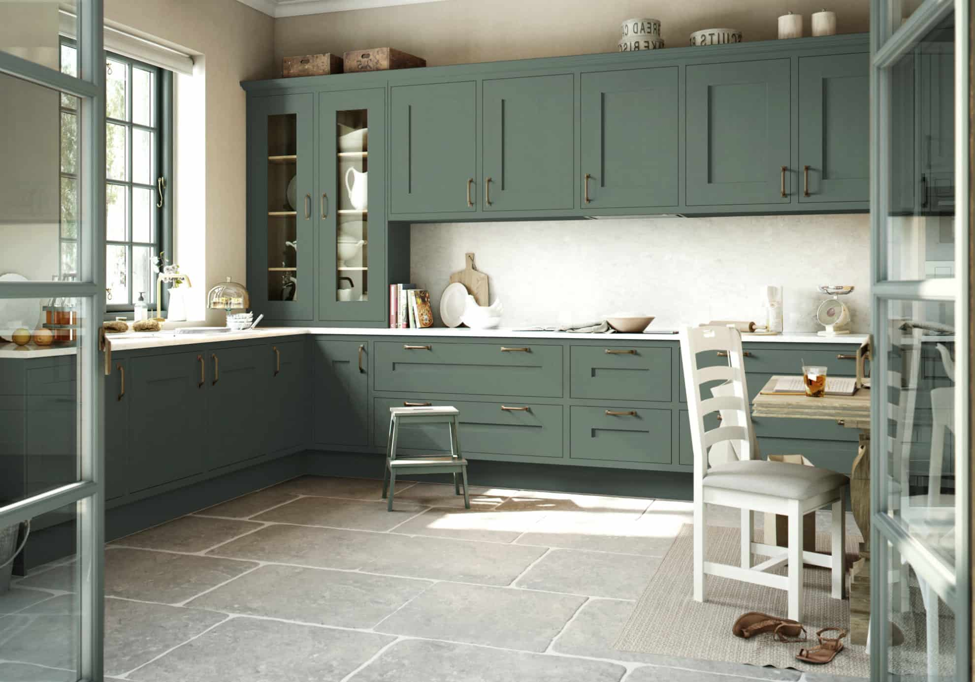 Gawsworth kitchen in green