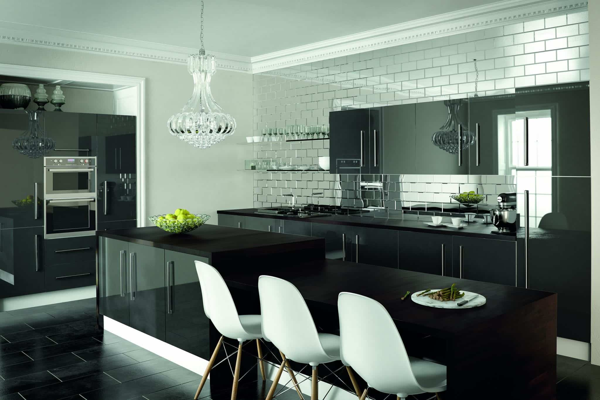 Kitchen in metallic anthracite grey