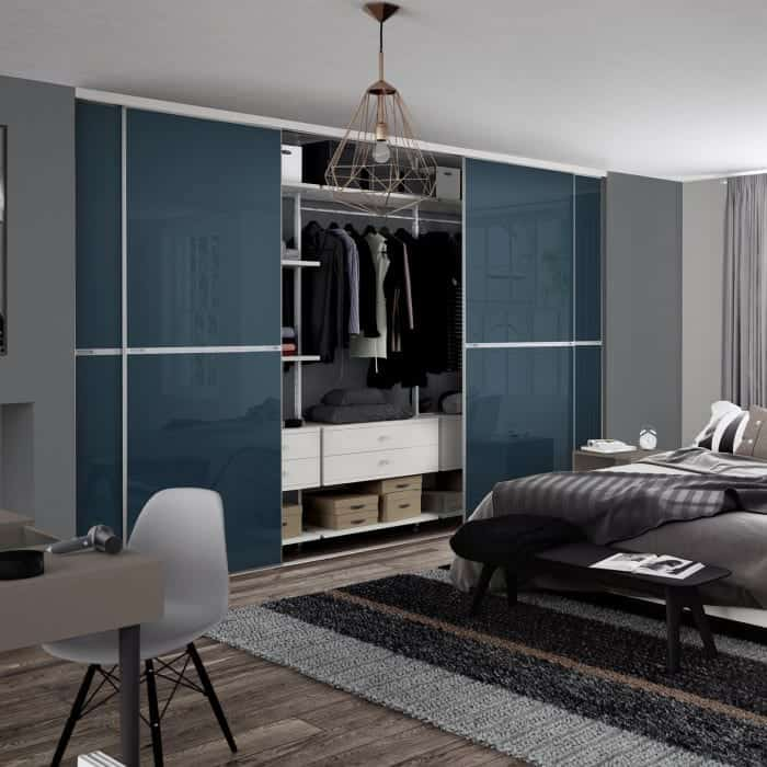 Minimalist sliding doors in blue