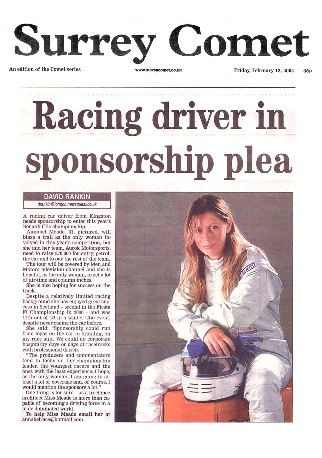 Annabel Meade Female Race Driver In The News