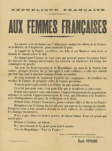Appel de René Viviani, Président du Conseil, aux femmes françaises le 6 août 1914