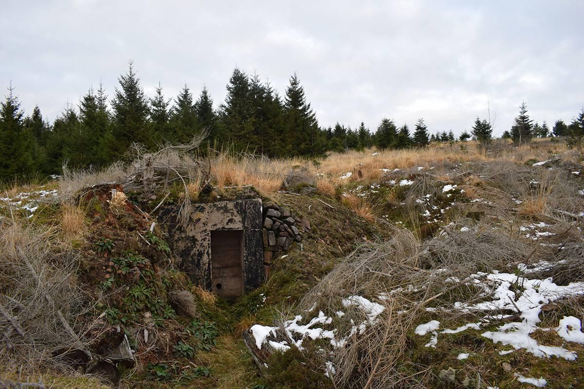 Bunker et chemin des tranchées sur la Corbeille