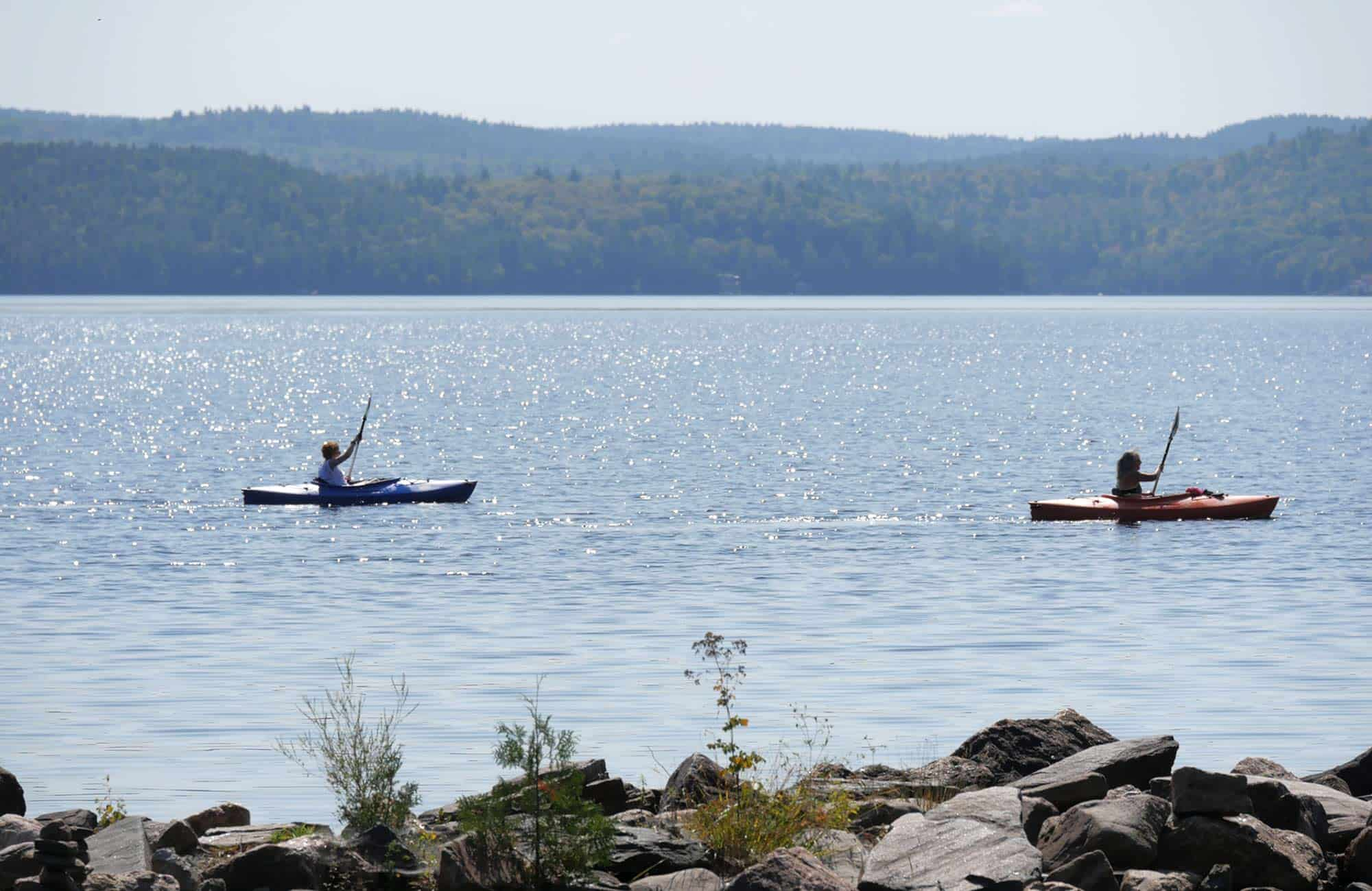 Two Kayakers Paddling on Calabogie Lake