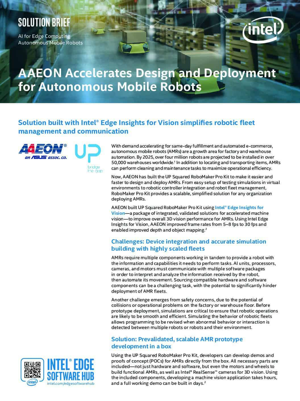 AAEON Accelerate Design and Deployment for Autonomous Mobile Robots
