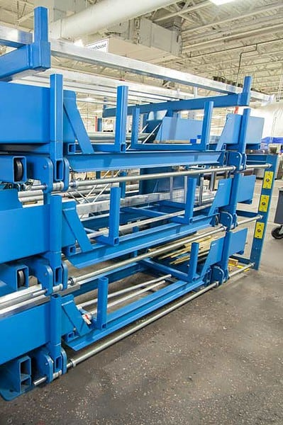 SpaceSaver Rack with Auxiliary Supports for Storing Short or Limber Material