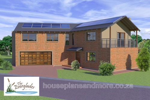 Double storey solar house plan design for client