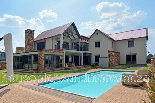 Double storey metal pitch roof house plan design