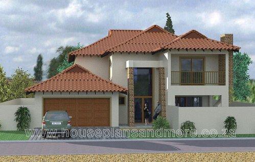 Double storey meditterainian house plan design for client