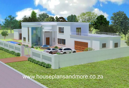 Double storey concrete flat roof house plan design for owner