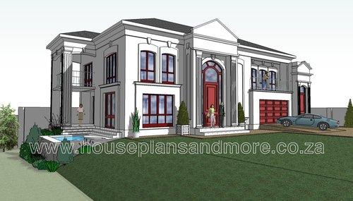 Double storey classic house plan design for client