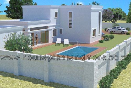 Double storey flat roof mod house plan design
