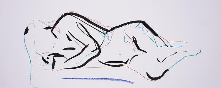 Zeichnung, Farbstift und Tusche auf Papier, 59,4x42cm,Akt, Künstlerin: Franziska King