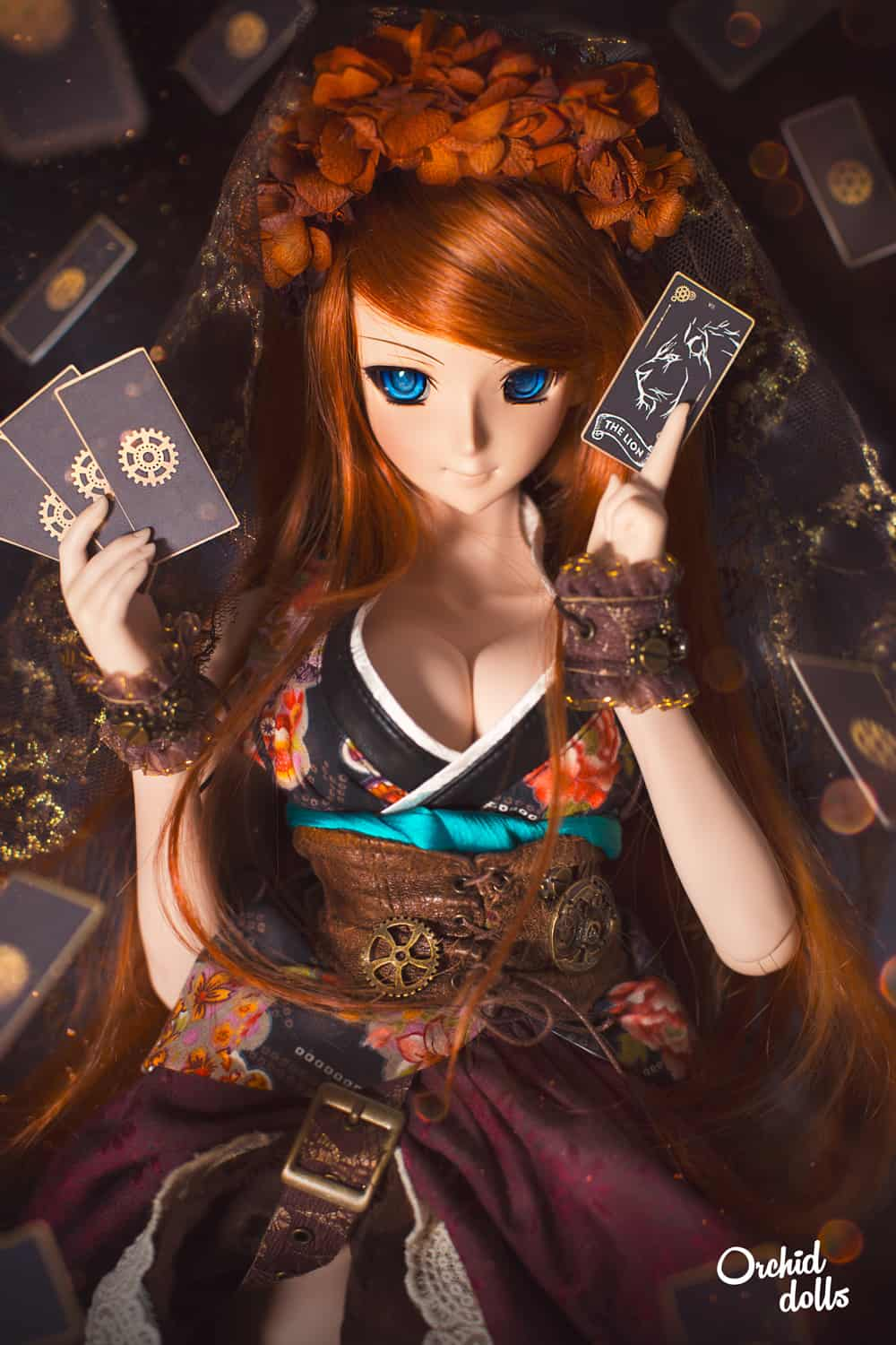 Dollfie Dream Beatrice Yuuko cartas Tarot steampunk